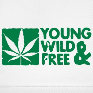 young wild and free weed leaf boxed Gorras - Gorra béisbol