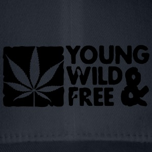 young wild and free weed leaf boxed Caps & Hats - Flexfit Baseball Cap