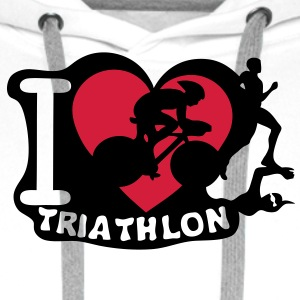 love triathlon cyclisme3 natation marath Sweat-shirts - Sweat-shirt à capuche Premium pour hommes