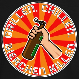 Grillen Chillen Bierchen Killen Filled White T-Shirts - Männer Kontrast-T-Shirt
