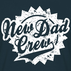 New Dad Crew Vintage Shield Design T-Shirt White - T-shirt herr