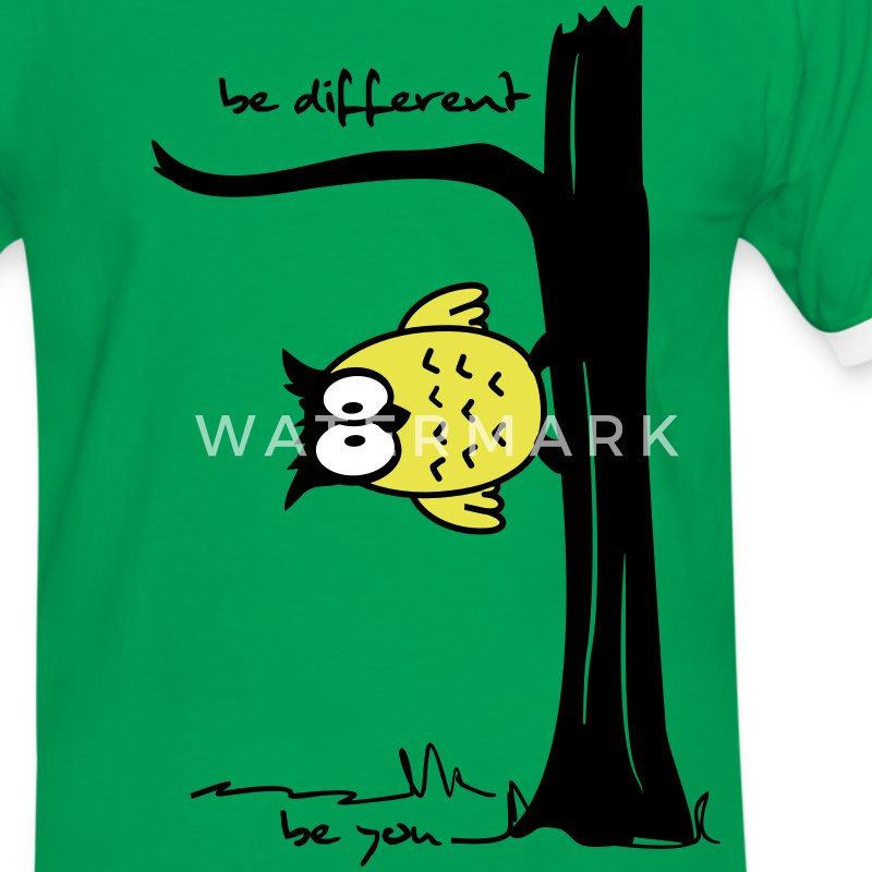 Eule auf Baum be different, be you T-Shirts - Männer Kontrast-T-Shirt