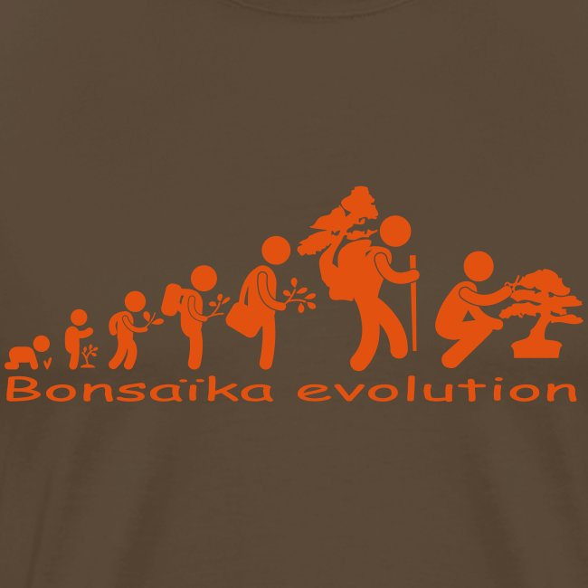 T-Shirt Homme Bonsaïka evolution texte Orange