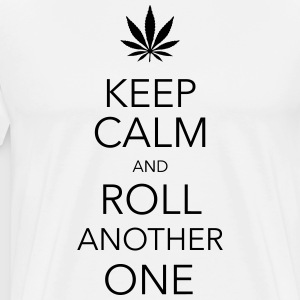 keep calm and roll another one cannabis T-shirts - Herre premium T-shirt