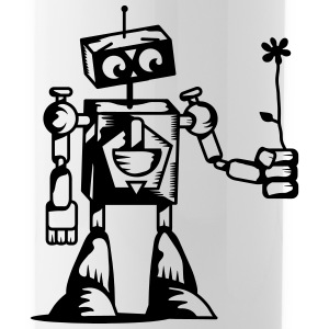 A robot with a flower Bottles & Mugs - Water Bottle