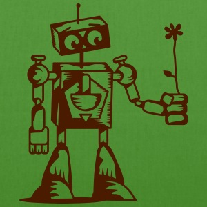 A robot with a flower Bags  - EarthPositive Tote Bag