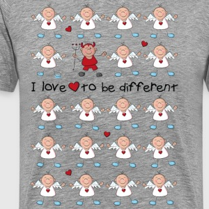 I love to be different - angel and devil T-shirts - Mannen Premium T-shirt