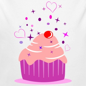 Sweet cupcake muffin cake with heart Hoodies - Longlseeve Baby Bodysuit