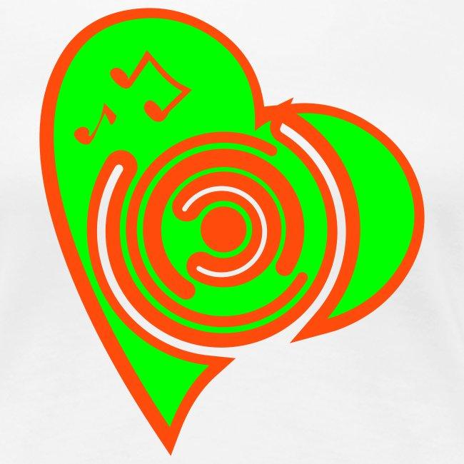 Herz Girlie weiß/neongrün