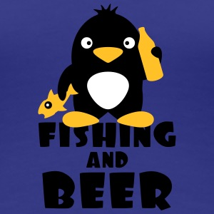 Fishing And Beer Penguin T-shirts - Dame premium T-shirt