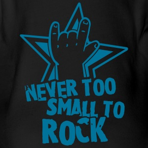 never too small to rock Shirts - Baby bio-rompertje met korte mouwen