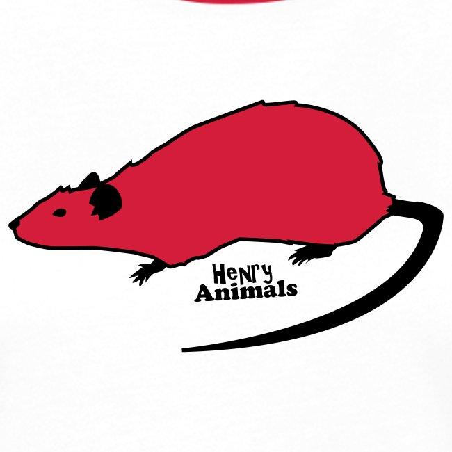 Frauen Kontrast-Shirt rot mit Ratte