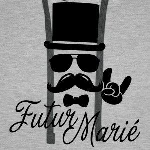 Futur Marié Enterrement Vie vintage moustache boss Sweat-shirts - Sweat-shirt à capuche Premium pour hommes