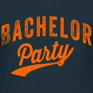 Bachelor Party shirt Navy met oranje tekst voor de - Mannen T-shirt