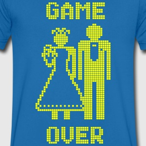 Game Over Old Skool geel T-shirts - Mannen T-shirt met V-hals