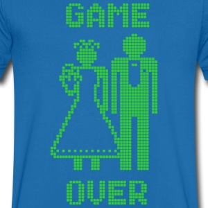 Game Over Old Skool groen T-shirts - Mannen T-shirt met V-hals