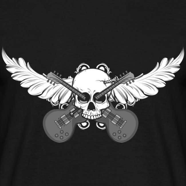 Flying skull with guitars - grey