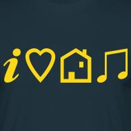 Design ~ I Love House Music (Symbolic, Yellow on blue, Flock - Velvety)