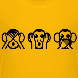 3 Wise Monkey Emoticon Shirts - Teenage Premium T-Shirt