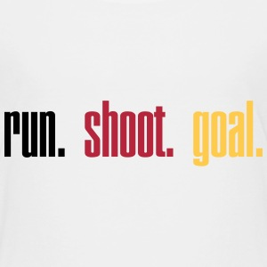 Run. Shoot. Goal.  3c Shirts - Kinderen Premium T-shirt
