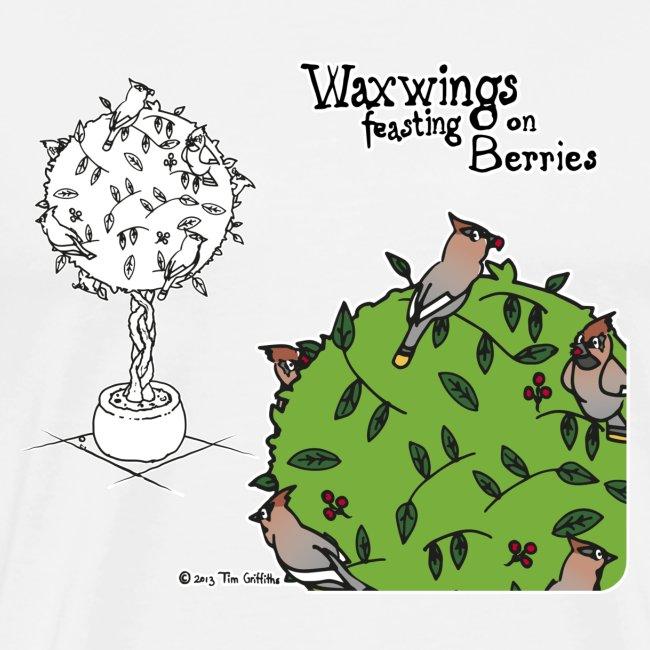 Waxwings feasting on Berries (white)