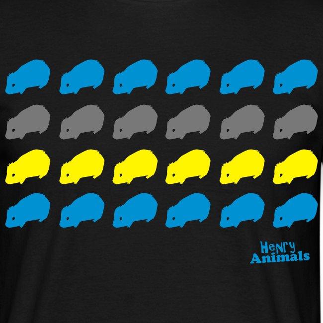 Basishirt schwarz mit Meerschweinchen Pop Art
