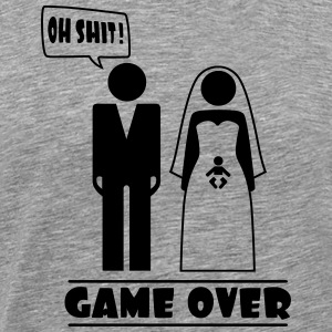 Wedding with baby inside - oh shit - game over T-shirts - Mannen Premium T-shirt