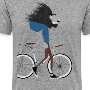 Hipster Lion bike - Men's Premium T-Shirt