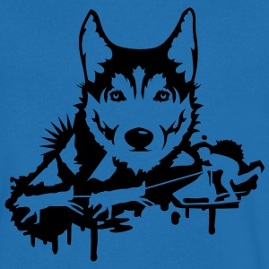 Dog racing with Husky Head  T-Shirts - Men's V-Neck T-Shirt