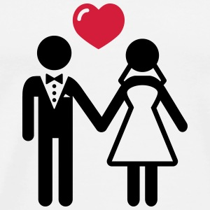 Bride and Groom with heart T-Shirts - Men's Premium T-Shirt