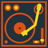 Design ~ I DJ - classic Small Turntable Logo on the left, 2 color flex