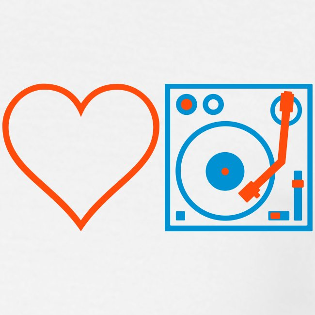 I DJ - Love DJ - Heart DJ - 2 color FLOCK print