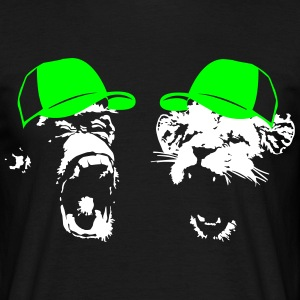 Monkey og Lion med baseball cap  T-skjorter - T-skjorte for menn