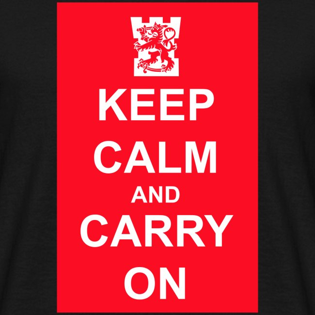 Keep calm and carry on tornilogo t-paita