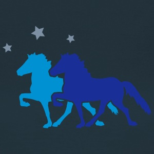 Two Horses with silver-metallic Stars  T-shirts - Dame-T-shirt