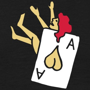 Poker Herz Heart Ass Ace Frau Woman Girl Pinup T-shirts - Mannen T-shirt