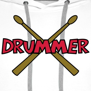Drummer with crossed Drumsticks Hoodies & Sweatshirts - Men's Premium Hoodie