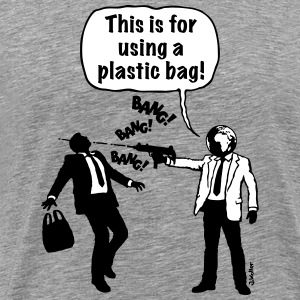 Cartoon: Anti-Plastic Waste Activist (2C) T-Shirts - Men's Premium T-Shirt