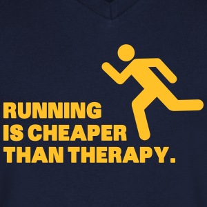 Running Is Cheaper Than Therapy Magliette - Maglietta da uomo con scollo a V