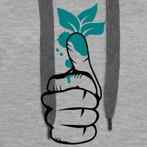 A hand with green leaves on the thumb Hoodies & Sweatshirts - Women's Premium Hoodie