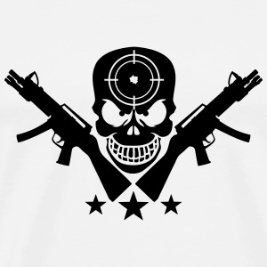 Assault Rifle Gun Skull Target Design T-shirts - Herre premium T-shirt