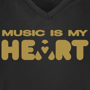 music is my heart T-Shirts - Men's V-Neck T-Shirt