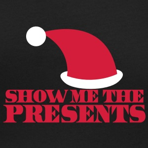 SHOW ME THE PRESENTS! with Santa HAT Christmas T-Shirts - Women's Scoop Neck T-Shirt