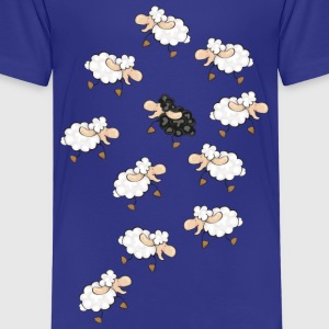 A large flock of sheep, with a little black sheep Kids' Shirts - Kids' Premium T-Shirt