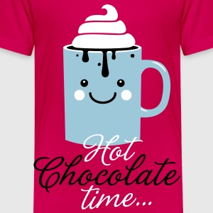 Funny hot chocolate with cream time in cool cold snow winter typography t-shirts Kids' Shirts - Kids' Premium T-Shirt