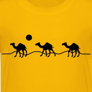 3 camels in the desert with sun Shirts - Teenage Premium T-Shirt