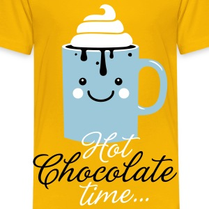 Funny cute mug with i love hot chocolate with sweet cream time slogan in cold snow freezing fall winter t-shirts for geek chic, trendy girls, gift friend christmas mothersday valentine's day Kids' Shirts - Kids' Premium T-Shirt