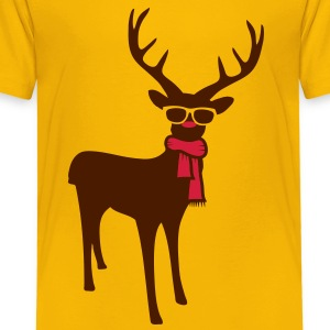 A reindeer with scarf and glasses Shirts - Kids' Premium T-Shirt