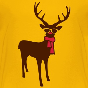 A reindeer with scarf and glasses Shirts - Teenage Premium T-Shirt
