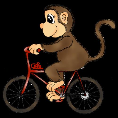 Radelnder Affe